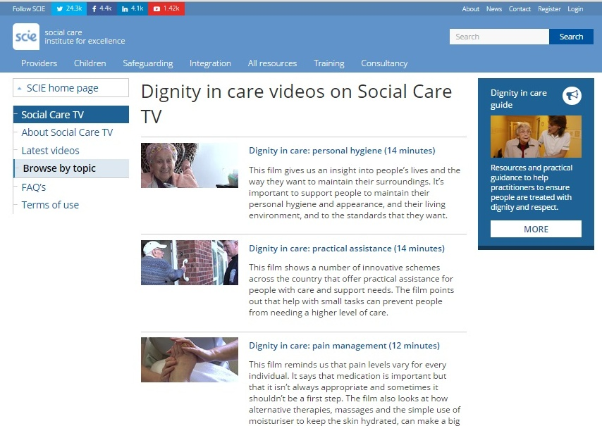 SCIE Dignity in care films